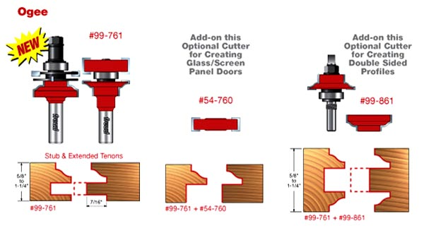 Premier Adjustable Ogee Rail & Stile Bits