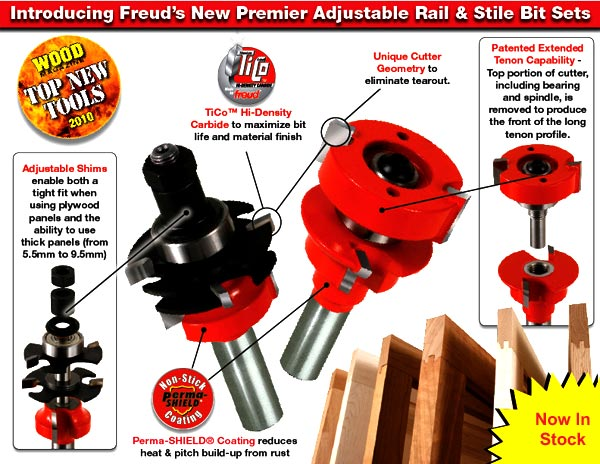 Premier Adjustable Rail and Stile Router Bit system