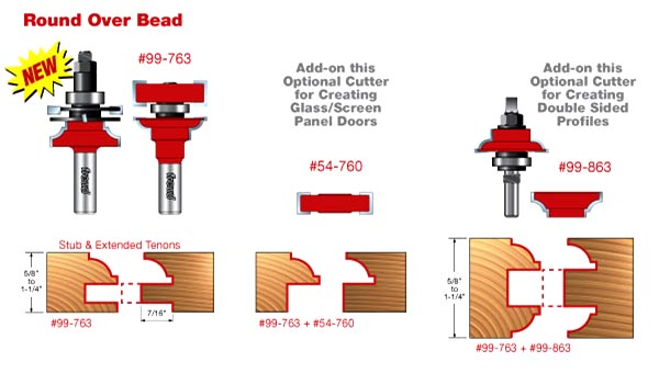 Premier Adjustable Round Over Bead Rail & Stile Bits
